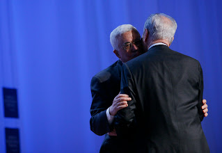 Photo: DAVOS/SWITZERLAND, 25JAN07 - Mahmoud Abbas, President of the Palestinian Authority; Chairman of the Palestinian Liberation Organization Executive Committee, (l) hugs Shimon Peres, Vice-Prime Minister of Israel,  during the session 'Enough Is Enough - Israel and the Palestinian Territories' at the Annual Meeting 2007 of the World Economic Forum in Davos, Switzerland, January 25, 2007.  Copyright by World Economic Forum     swiss-image.ch/Photo by Yoshiko Kusano  +++No resale, no archive+++