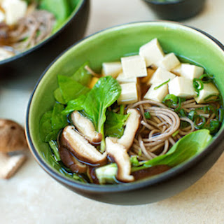 Japanese Soba Noodle Soup with Tofu and Greens.