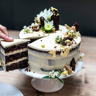 Chocolate, Tahini and Honey Celebration Cake.