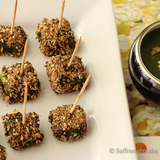 Spice Crusted Paneer Tikka In Green Sauce / Chutney - A Different Approach.