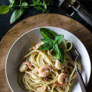 Bucatini and Shrimp in Garlic Basil Cream Sauce.