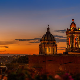 San Miguel Sunset by Jon Nichols - City,  Street & Park  Night ( mexico, bell tower, san miguel de allende, dusk, sunset, san miguel, travel )