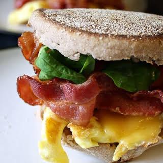 Bacon and Arugula Breakfast Sandwich.