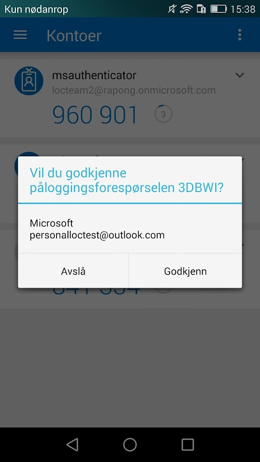 Microsoft Authenticator-skjermdump