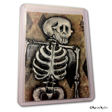 Photo: Calaveras #44. 2.5 x 3.5 inches. Mixed medium on paper. ©Marisol McKee