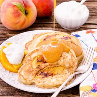 Peach Pancakes with Peach Maple Syrup