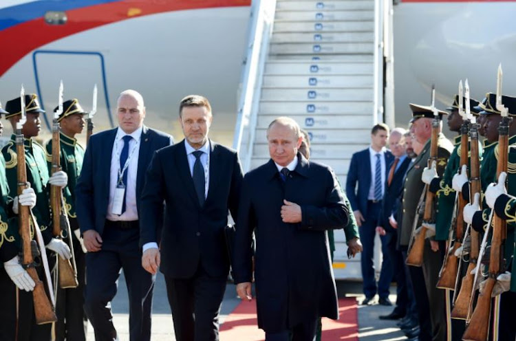 Russian President Vladimir Putin arrives at OR Tambo International Airport on July 26 2018 to attend the 10th Brics Summit in Sandton.