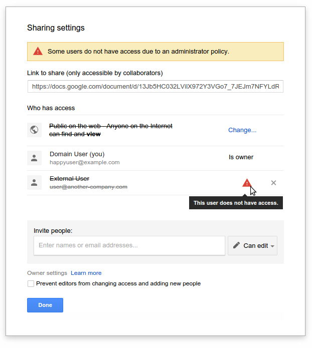g suite updates blog notification of invalid sharing settings in