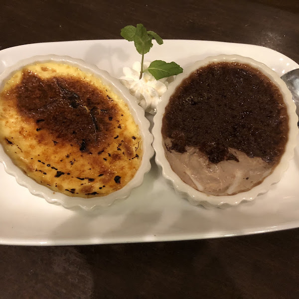 Gluten Free Cream Brûlée Duo (one regular, one chocolate) that looked so good I couldn't wait to dig into..lol