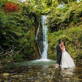 Waterfall love by MIHAI CHIPER - Wedding Bride & Groom ( water, love, kiss, nature, beautiful, waterfall, bride and groom,  )