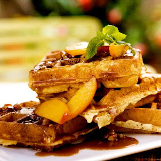 Sour Cream Waffles with Fresh Peaches and Toasted Pecan Praline Sauce Recipe