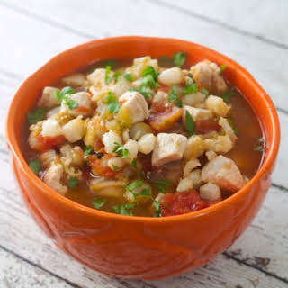 Slow Cooker Chicken Chili With Hominy.