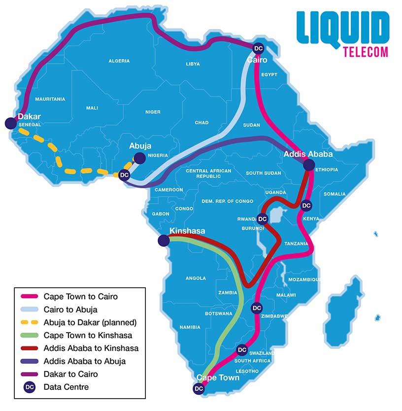 Liquid Telecom's African fibre map.
