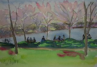 Photo: A la orilla de un estanque en Washington, 21 x 30 cm, 3-4-07, 220 €