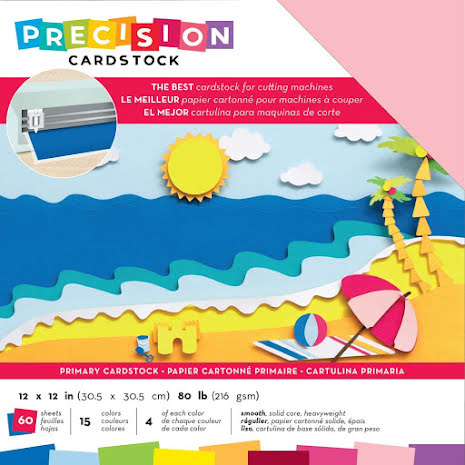 American Crafts Precision Cardstock Pack 12X12 60/Pkg - Primary Smooth