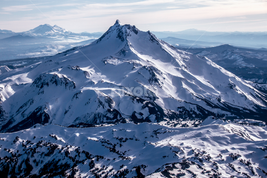 Aerial Photo of Mt. Jefferson, Oregon by Kay Martin - Landscapes Mountains & Hills ( oregon, mountains, peak, mt jefferson, snow, cascades, aerial )