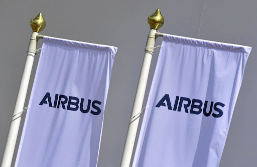 Airbus flags fly at the 2018 Farnborough International Airshow. Picture: REUTERS