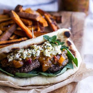 Moroccan Spiced Lamb Burgers with Apricot-Pepper Chutney + Pistachio Feta Pesto.