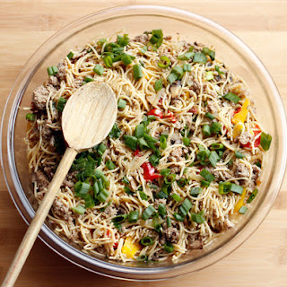 Whole Grain Spaghetti with Ground Turkey and Vegetables.