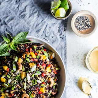 Forbidden Rice Salad with Mango, Bok Choy and Coconut Curried Dressing.