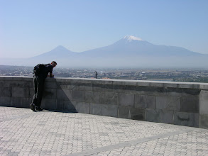 Photo: Mick and Mt Ararat that looms over the Armenian capital, Yerevan.