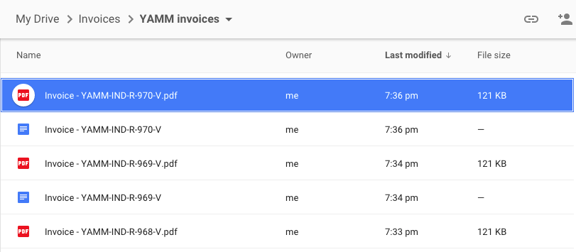 managing invoices with form publisher yamm and awesome table