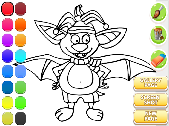 android For Kids Coloring - Cute Bat Screenshot 4