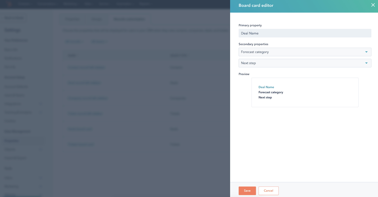Screenshot of board card editor within HubSpot