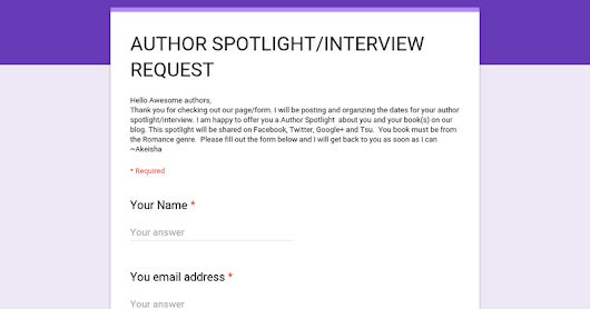 AUTHOR SPOTLIGHT/INTERVIEW REQUEST