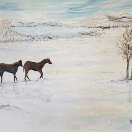 Wild Horses by Rhonda Lee - Painting All Painting ( unique, winter, horses, nature, horse, landscape )