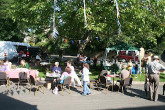 Photo: Visitors to the Priston Festival enjoying an al fresco Saturday Coffee Shop & Market.© Richard Bottle 2008