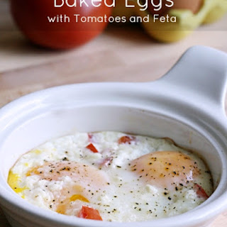 Baked Eggs with Tomatoes and Feta.