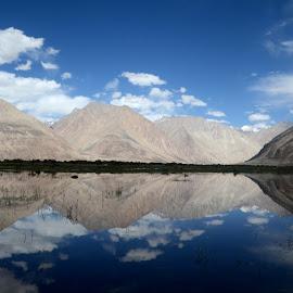 Reflection by Jaydip Bera - Landscapes Mountains & Hills ( clouds, hills, reflection, mountain, sky, lake, scenic )