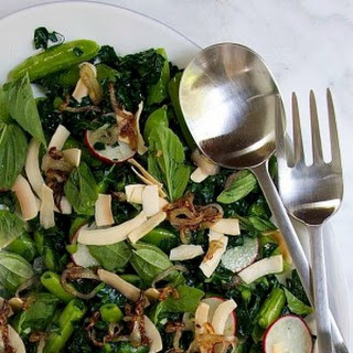 Snow Pea and Kale Salad with Toasted Coconut and Lime