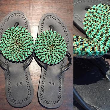Beaded sandal - pure green 肯雅手制釘珠人字拖 (淺綠)