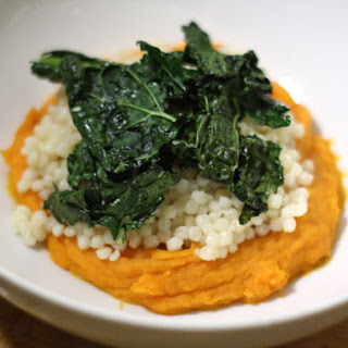 Couscous with Sweet Potato Puree and Kale Chips.