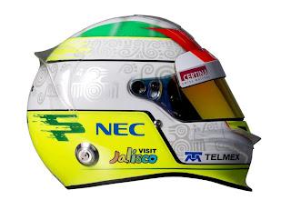 Photo: The helmet of Sergio Perez (MEX), Sauber.Formula One Testing, Day 3, Jerez, Spain, Thursday 9 February 2012.