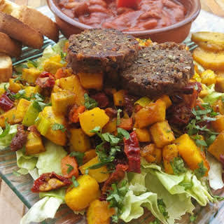 Black Bean and Wheat Protein Morcilla Sausages With Tofu Scramble and Potatoes [Vegan].