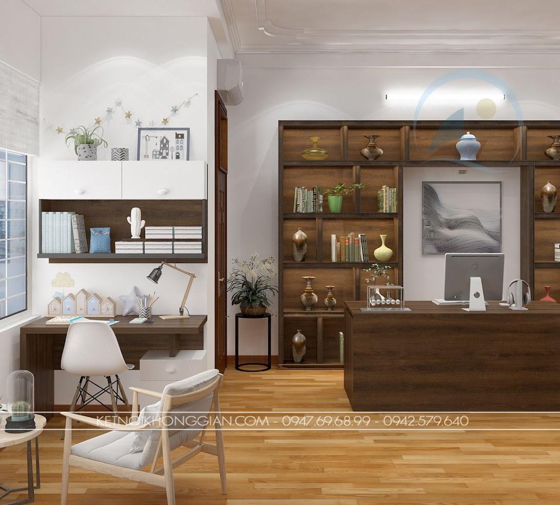 thiết kế phòng đọc sách kết hợp phòng làm việc và phòng học 5