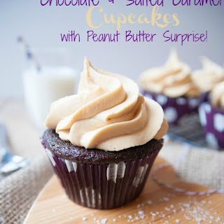 Chocolate & Salted Caramel Cupcakes - with a Peanut Butter Surprise {Guest Post by Carlas Confections}