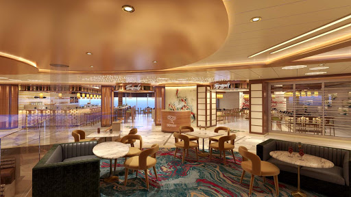 A rendering of Bonsai, the sushi-and-soy-sauce spot aboard Mardi Gras, Carnival's newest ship.