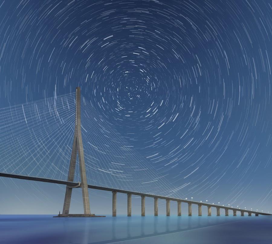 Future 2211 by Caras Ionut - Digital Art Places ( water, reflection, sailing, start, blue, bridge, trails, boat, light )