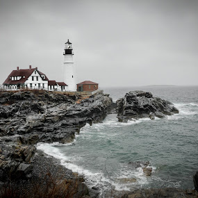 Portland Head Lighthouse by Desiree DeLeeuw - Landscapes Waterscapes ( stormy, maine, lighthouse, landscape, coastal )