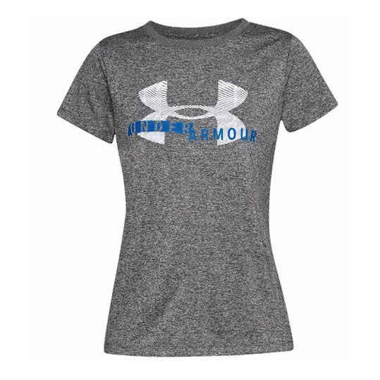 Under Armour Tech SSC Graphic Top Dam Charcoal Light Heather/White/Blue Circuit Stl: XS