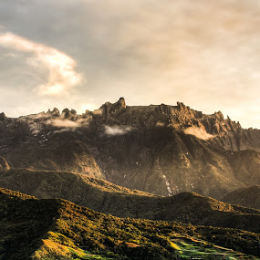 Mount Kinabalu by Lubelter Voy - Landscapes Mountains & Hills ( plant, hills, waterfalls, mountain, highest, travel, vegetation, south east asia, sun, sabah, sky, nature, asia, rocks, light, hdr, grass, green, enormous, tourism, forest, morning, sunlight, outdoor, mount kinabalu, trees, rain forest, cloud, high, kinabalu, big, stones, natural )