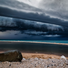 Storm Wall by Chris Martin - Landscapes Weather ( lake michigan, lake, storm )