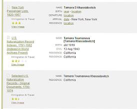 Photo: Tamara Toumanova, 13_08_1943 California. Скопировано с сайта http://ancestry.com/. Результаты поиска на указанные фамилии.