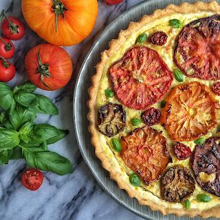 Heirloom Tomato, Goat Cheese & Greek Yogurt Tart with Basil & Almond Pesto