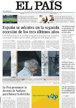 Photo: España se adentra en la segunda recesión de los tres últimos años, Le Pen promueve la derrota de Sarkozy para liderar la derecha francesa y Nicanor Parra gana el Cervantes en ausencia, en nuestra portada del martes 24 de abril de 2012 http://srv00.epimg.net/pdf/elpais/1aPagina/2012/04/ep-20120424.pdf