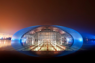 Photo: National Centre for the Performing Arts in Beijing, China (The Chinese Mothership)  Look at this magical place in Beijing... it's on the edge of belief.  This is the amazing National Centre for the Performing Arts, or as I like to say, the 国家大剧院 -- I find that rolls of the tongue a bit easier.  from the blog www.stuckincustoms.com